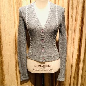 Inhabit Wool Blend Crop Sweater Cardigan-Small
